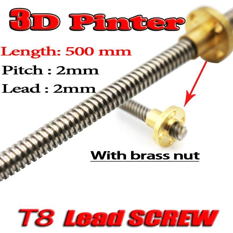 Livraison gratuite imprimante 3D THSL-500-8D vis à tête Dia 8 MM pas 2mm plomb 2mm longueur 500mm avec écrou en cuivre