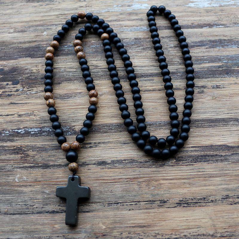 6mm Noir pierre Perles En Bois avec pierre noire croix Pendentif Hommes Collier de Chapelet Hommes Mala bijoux