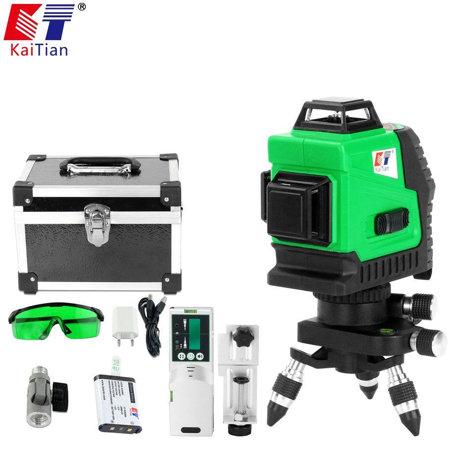 Kaitian Laser Level Self Levelling Green 3D 12 Lines Horizontal Vertical Battery Receiver Rotary 360 Degree Nivel Laser Leveling