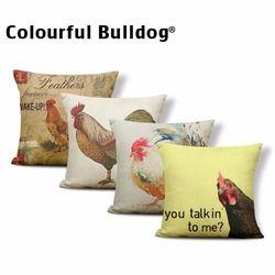 Penutup Hewan Realistis Ayam Rooster Bantal Bantal Kasus Minyak Lukisan Hummingbird Tidur Untuk Anak Retro Hen Toss Bantal 17.7 Linen