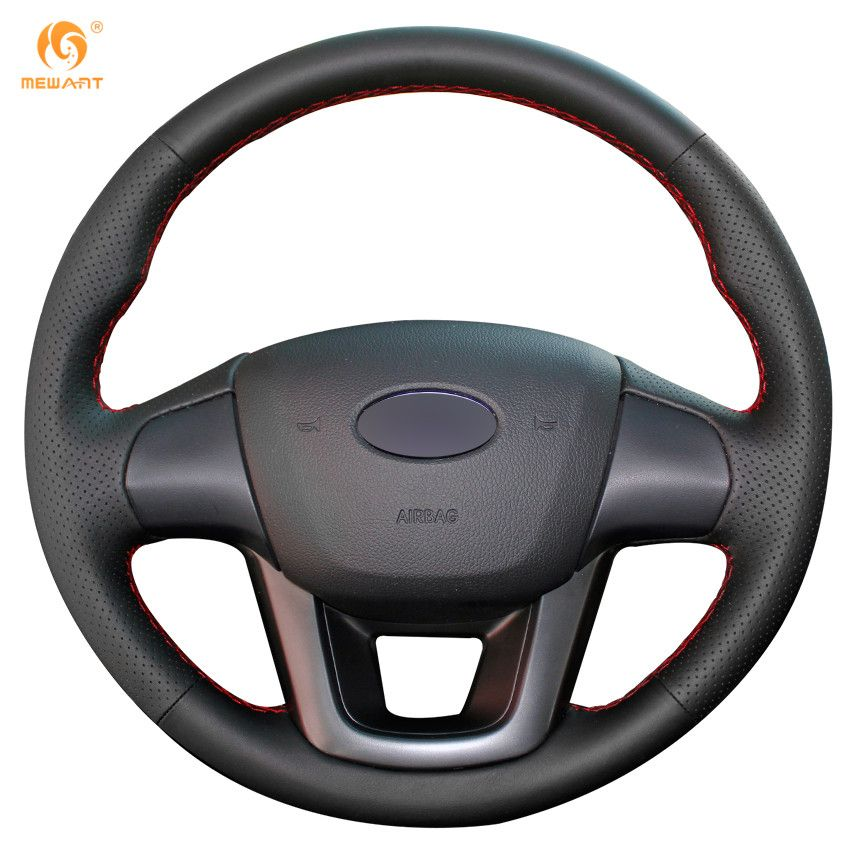 MEWANT Black Artificial Leather Car Steering Wheel Cover for Kia K2 Kia Rio 2011 2012 2013