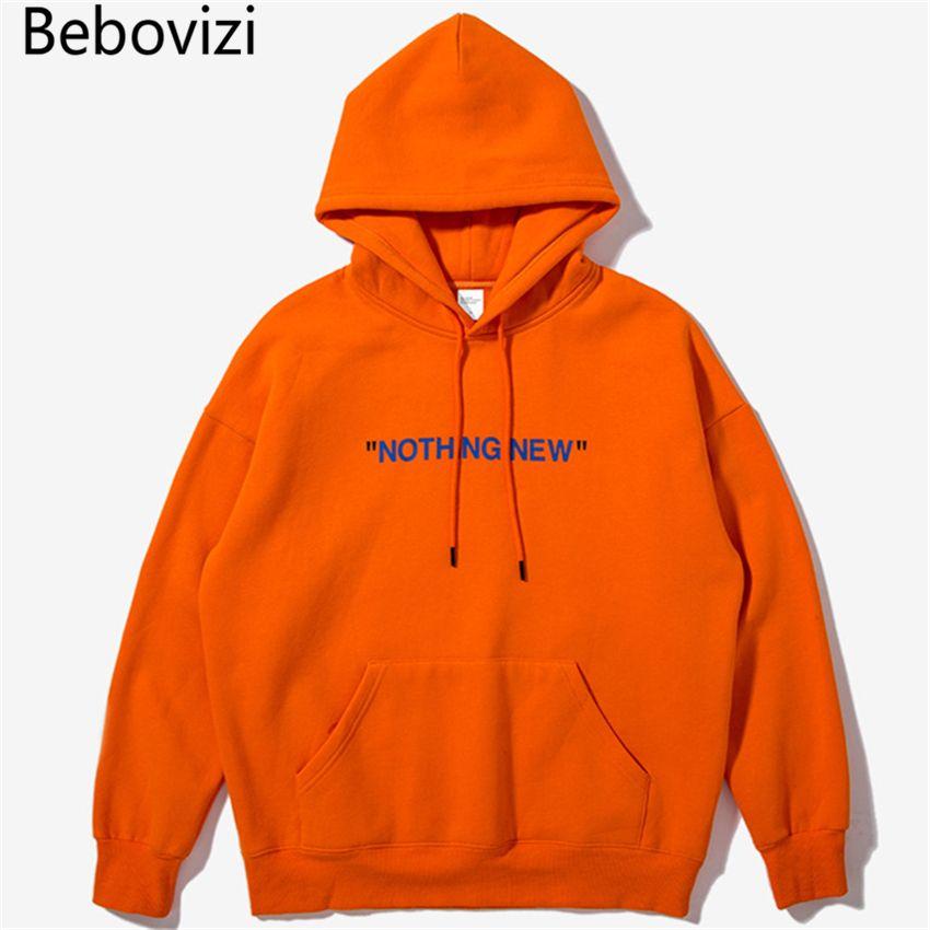 Nuevos productos naranja gran tamaño Europa estilo simple inglés Impresión de bolsillo Sudadera con capucha hiphop streetwear