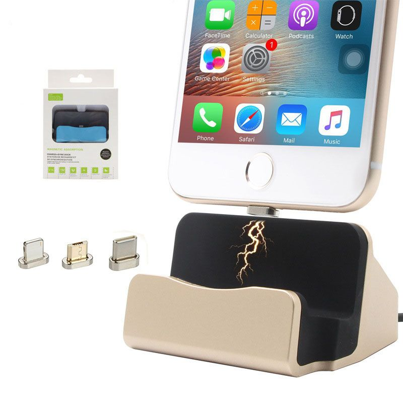 Magnet Data Charging Magnetic Charger USB Cable Dock Station Desktop Docking For iPhone 5 5s 6 6s 7 Plus iPod Android Type C