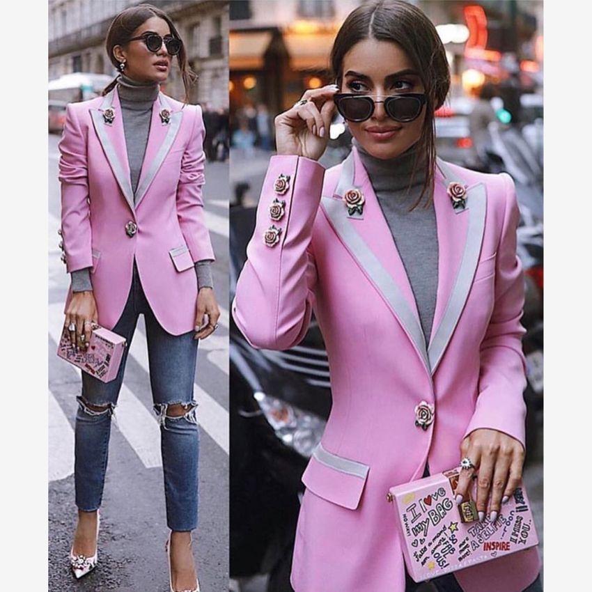 HIGH STREET Newest Fashion 2018 Designer Blazer Women's Long Sleeve Floral Lining Rose Buttons Pink Blazer Outer Jacket