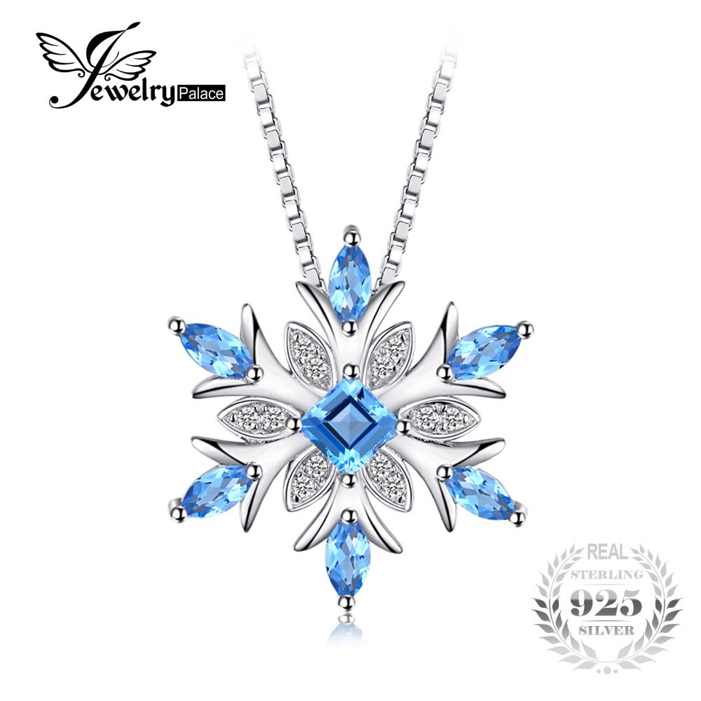 JewelryPalace Snowflake Genuine Swis Blue Topaz Solid 925 Sterling Silver Pendant Fine Jewelry Not Include the Chain On Sale