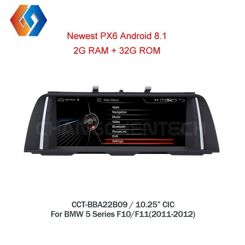 10,25 Android 8.1 für BMW 5 Series F10 F11 CIC Schwarz Bildschirm Auto GPS Navigation Multimedia Stereo Eingebaute BT WiFi Telefon spiegel 9