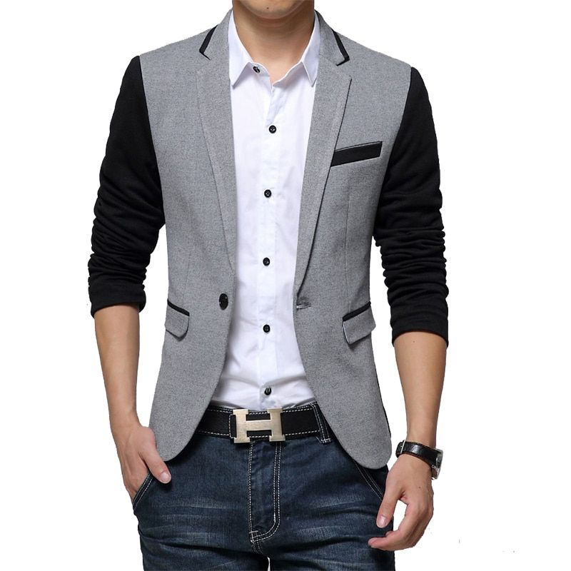 Nouveau Slim Fit décontracté veste coton hommes Blazer veste simple bouton gris hommes costume veste 2018 automne Patchwork manteau mâle Suite