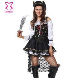 Hitam Dan Putih Deluxe Gothic Bajak Laut Dari Karibia Karnaval Kostum Halloween Kostum Seksi Wanita Cosplay Bajak Laut Fancy Dress