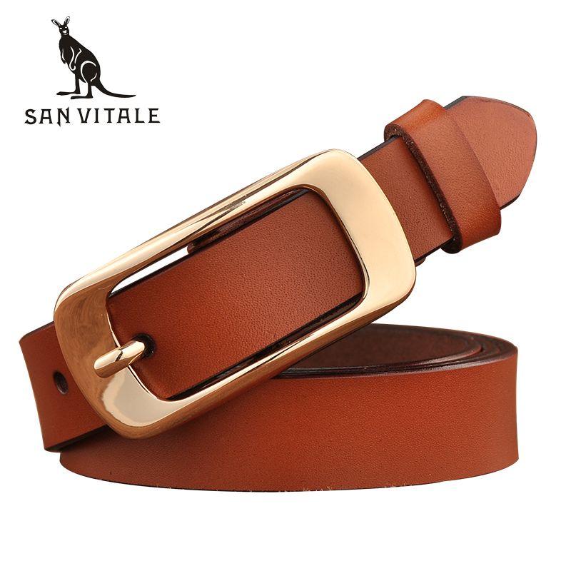 SAN VITALE nouveau Designer femmes ceintures mode en cuir véritable marque sangle femme ceinture Pin boucles fantaisie Vintage pour Jeans