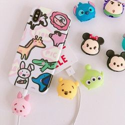 New Arrival TSUM TSUM Cable Protector for iphone 5 6 7 8 USB Data Line Protection Doll Animal Bite Accessory cable organizer