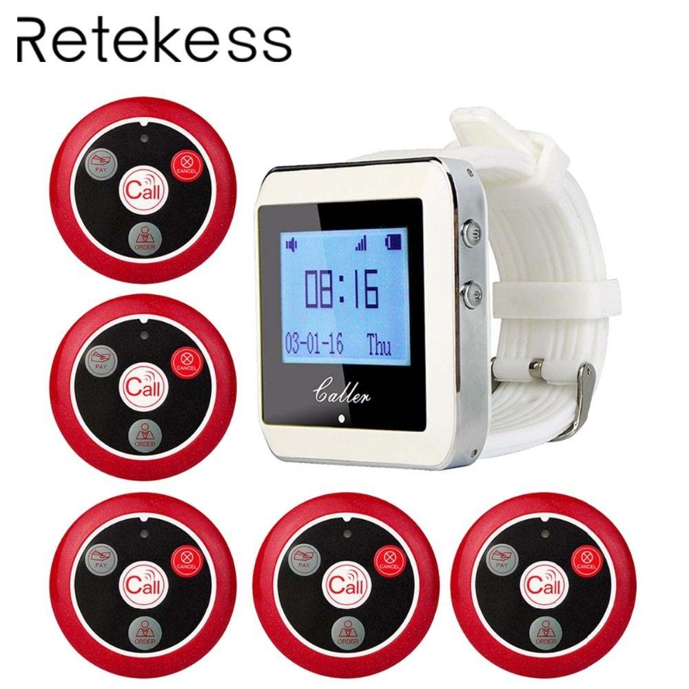 Système d'appel de serveur sans fil RETEKESS pour système de téléavertisseur de Service de Restaurant 1 récepteur de montre + 5 bouton d'appel F3288B