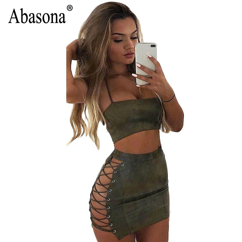 Abasona Women Suede Dress Summer Lace Up Two <font><b>Piece</b></font> Dress Set Sexy Party Club Wear Halter Bandage Bodycon Mini Dresses Robe Sexy
