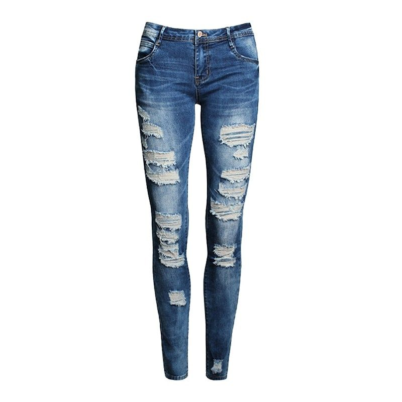 Nouveau bleu jean pantalon Pancil femmes taille haute mince trou déchiré Denim jean décontracté Stretch pantalon jean pour les femmes