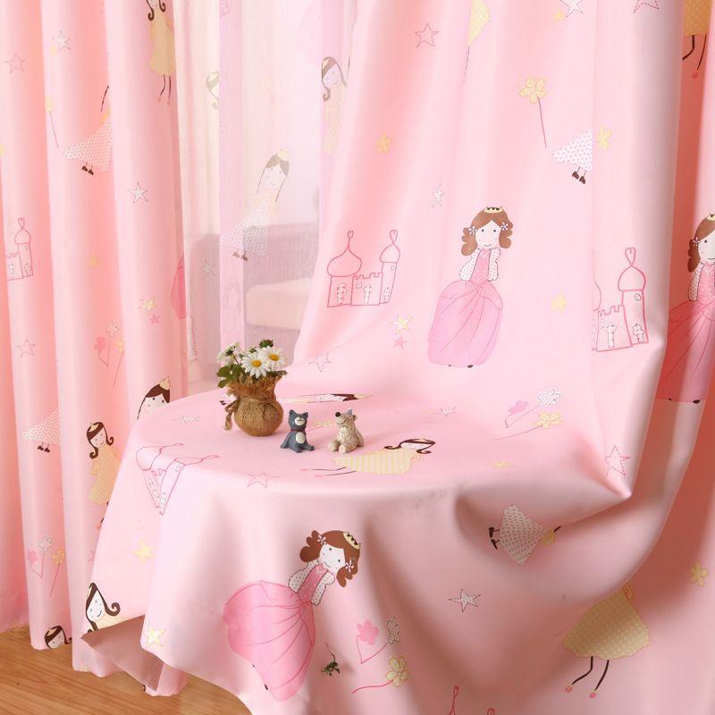 [Byetee] enfants rideau dessin animé princesse rose filles bébé chambre enfants rideaux occultants pour chambre fenêtre rideau rideaux
