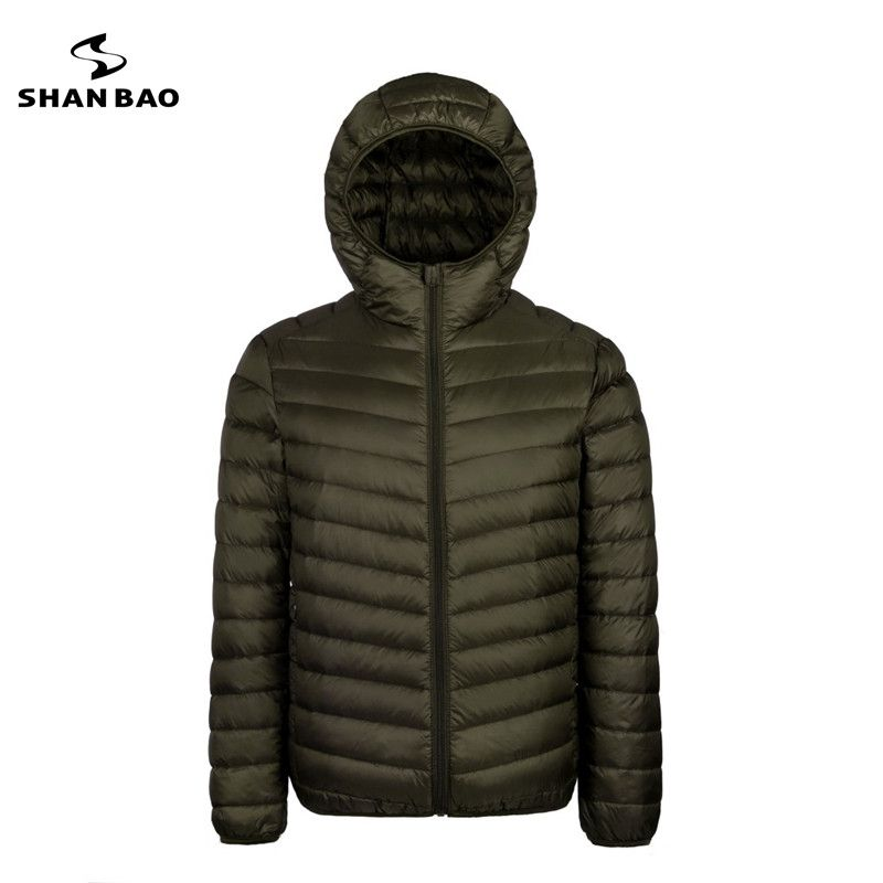 2017 autumn and winter new men's lightweight hooded down jacket zipper pocket solid color high-quality white duck down jacket