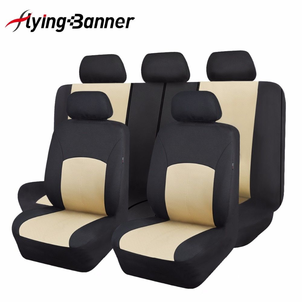 Polyester Fabric Universal Car Seat Cover Set Car Styling Fit Most Car Interior Accessories Sedans Beige Seat Cover for Car Care