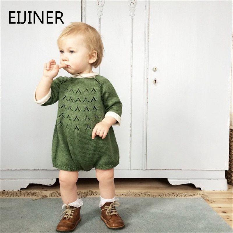 0-5 ans tricoté bébé fille barboteuse automne hiver 2019 nouveau bébé barboteuses à manches longues coton bébé fille vêtements bambins combinaisons