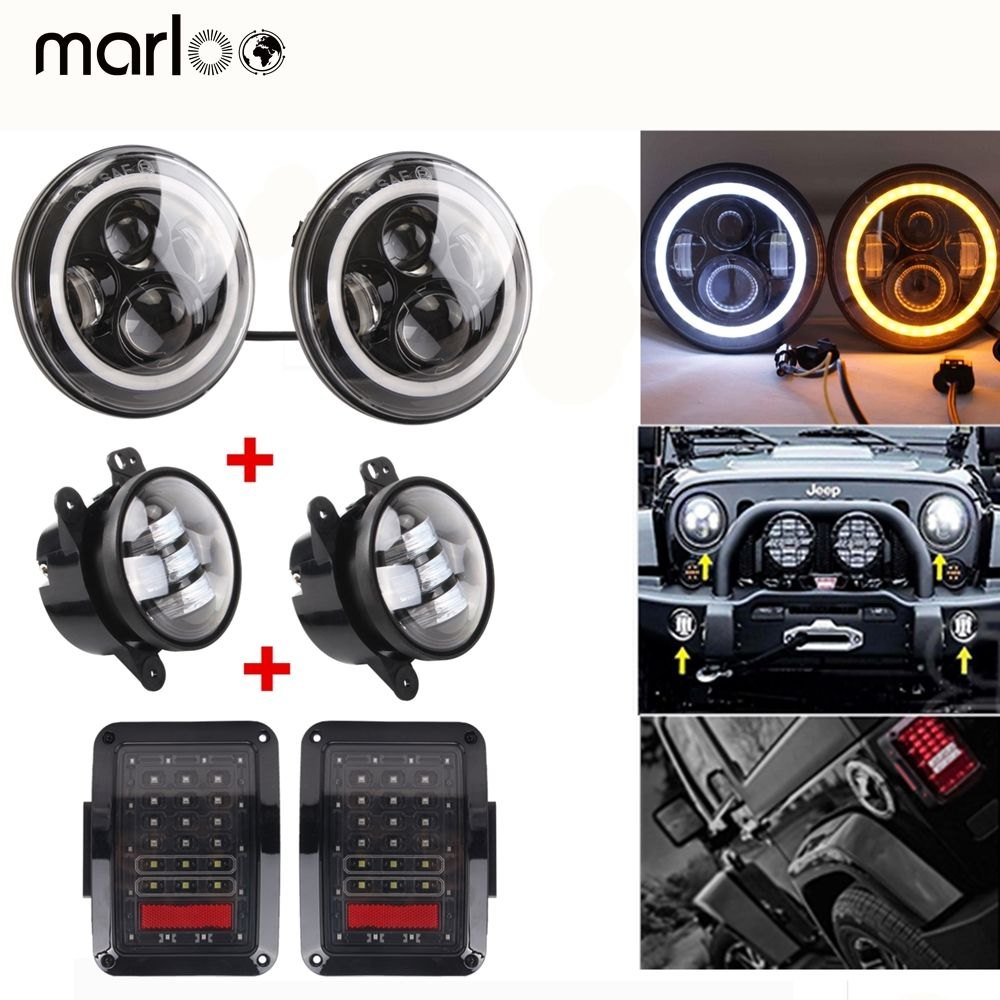 Marloo For Jeep Wrangler JK combo 7 inch LED Headlight Wrangler 4