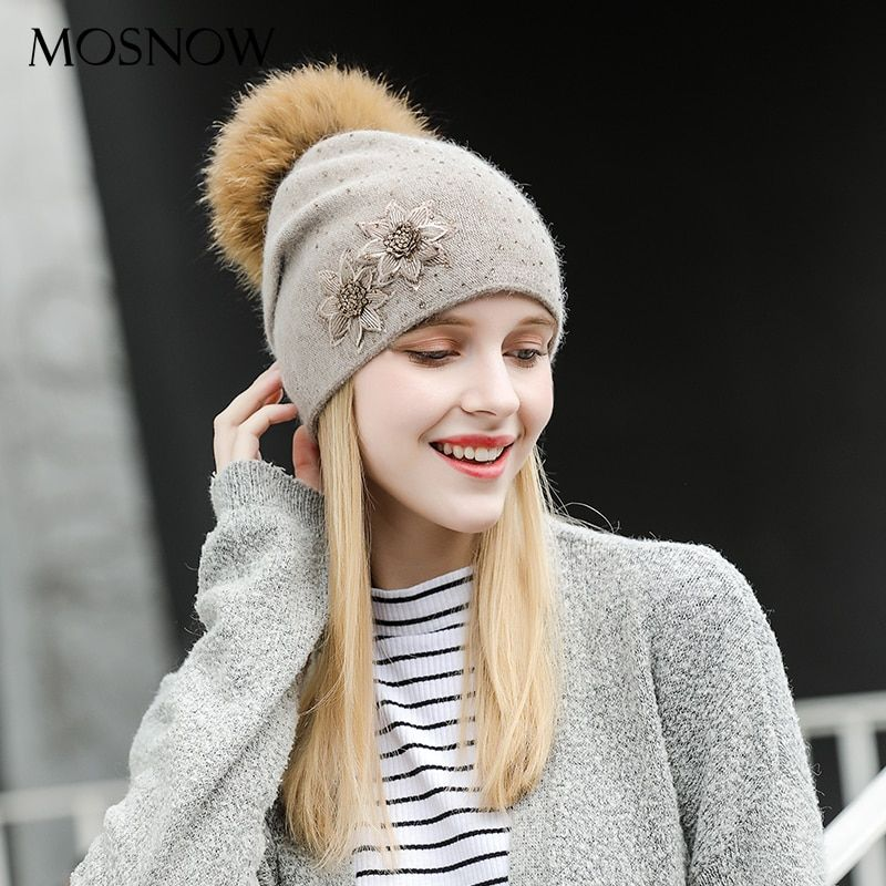 MOSNOW Winter Hats Wool Fur Pompom High Quality 2017 Winter Knitted Beanie Brand New Fashion  Hat Female Skullies Caps #MZ801A