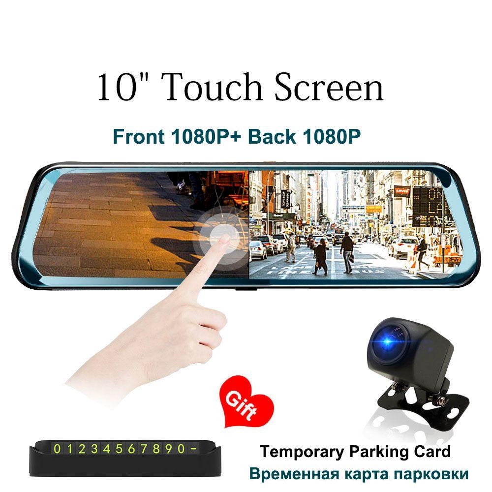 HGDO 10 pouces écran tactile voiture DVR vue arrière miroir Dash cam Full HD voiture caméra 1080 P arrière caméra double lentille enregistreur vidéo
