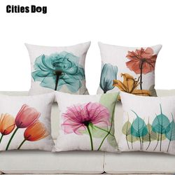 Dekoratif bantal bantal linen modern minimalis baru tinta bunga tulip pola pencetakan 45x45 lempar bantal Bantal