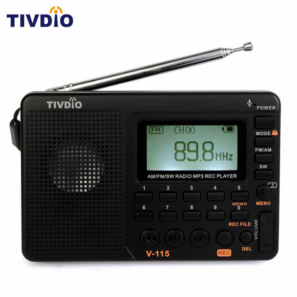 TIVDIO V-115 Radio FM/AM/SW World Band Receiver MP3 Player REC Recorder With Sleep Timer Black FM Radio Recorder F9205A