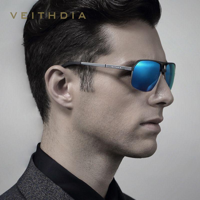 VEITHDIA marque Designer UV400 lunettes de soleil polarisées hommes al-mg lunettes de soleil hommes gafas oculos de sol masculino 6521