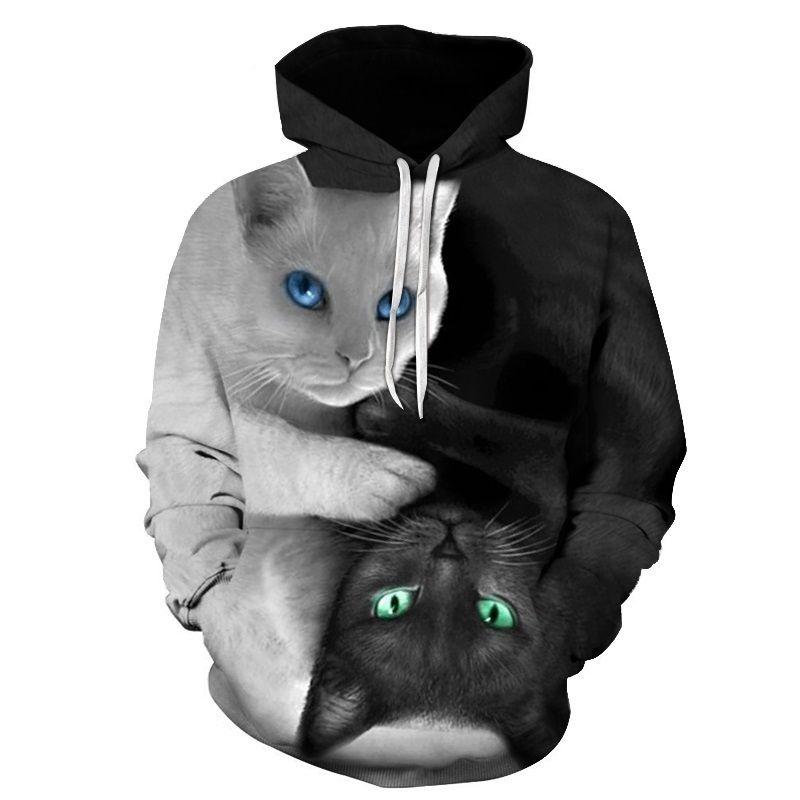 ONSEME Cool Yin Yang Cat Print 3D Hooded Sweatshirts Men/Women Hipster Space Galaxy Astronaut Cats Hoodies Pullovers Drop <font><b>Ship</b></font>