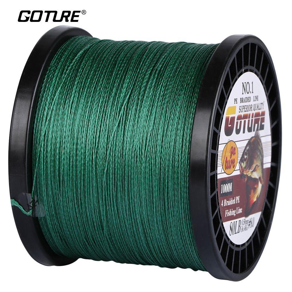 Goture 1000M PE Braided Fishing Line Super Strong Japan Multifilament Cord <font><b>Rope</b></font> 4 Stands 12-80LB For Carp Fishing