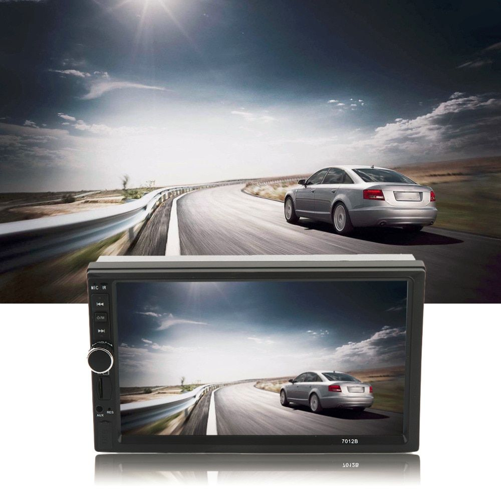 Car Vehicle 7 Inch Screen TF Card Doule Din Bluetooth DVD Player with Rear View Camera Auto Multimedia Player Audio Player Black