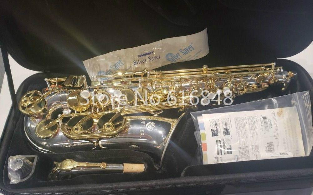 Jupiter JAS 1100SG Alto Eb saxophon Musical Instrument Silber Überzogene Körper Gold Lack Schlüssel Sax Mit Mundstück Kostenloser Versand