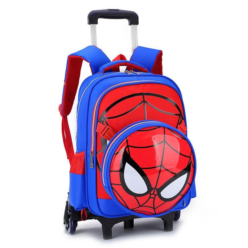 Mode Amovible 2/6 Roues Étanche de bande dessinée Spiderman Sacs À Dos Enfants Sacs D'école Primaire Sac À Dos Garçon mochila Cartables