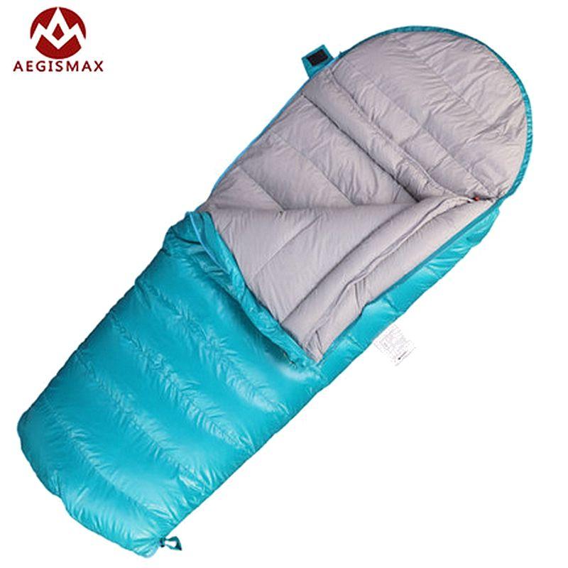 AEGISMAX Kinder Umschlag schlafsäcke Weiße Gänsedaunen für Kinder Camping Blau Rosa Zwei Möglichkeiten Reißverschluss 160*70 cm K200 K400 K600