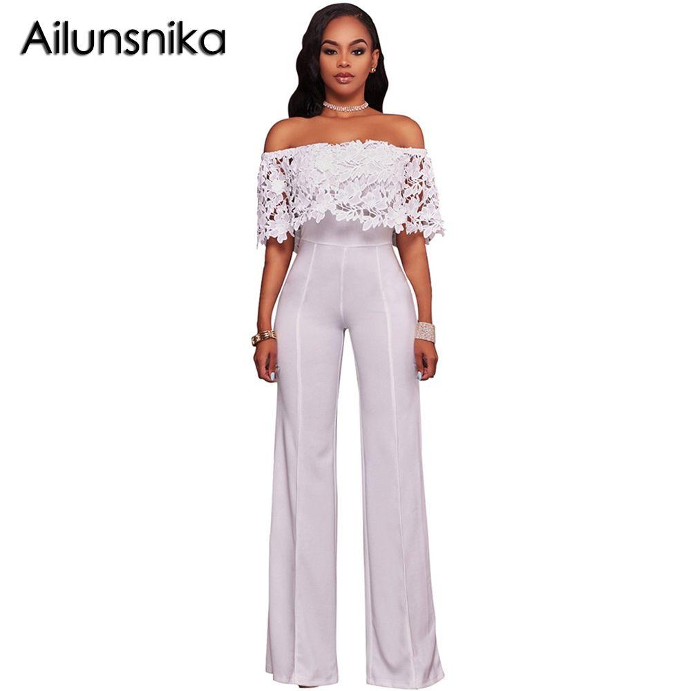 Ailunsnika Fashion Lace Off Shoulder Jumpsuit Women Slash Neck Full Length Wide Leg Overalls Rompers combinaison femme SC055