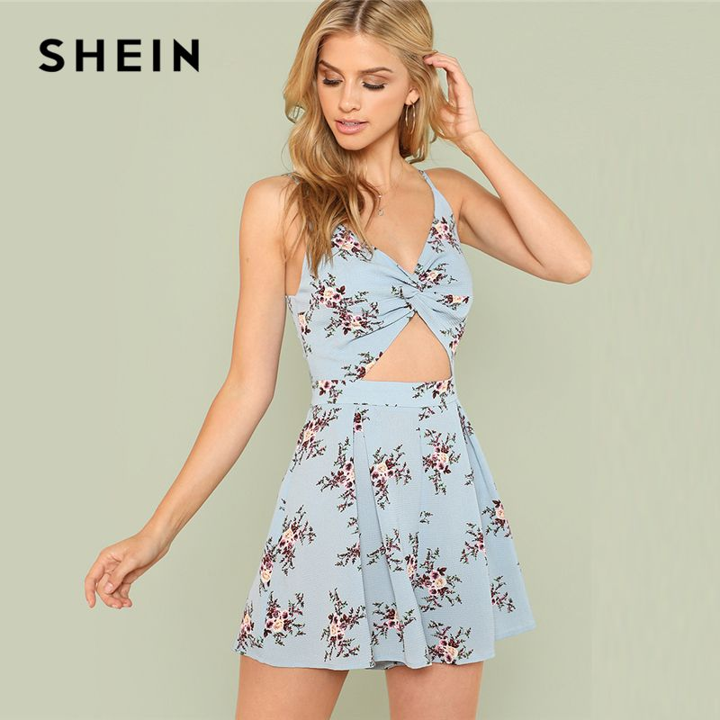 SHEIN Twist <font><b>Front</b></font> Boxed Pleated Floral Cami Romper 2018 Summer Spaghetti Strap Flower Print Jumpsuit Women Vacation Jumpsuit