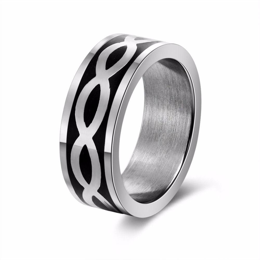 2017 New Fashion Rings Men Women Lovers' Silver Jewelry Cross Black Stripe Ring Set Vintage Punk