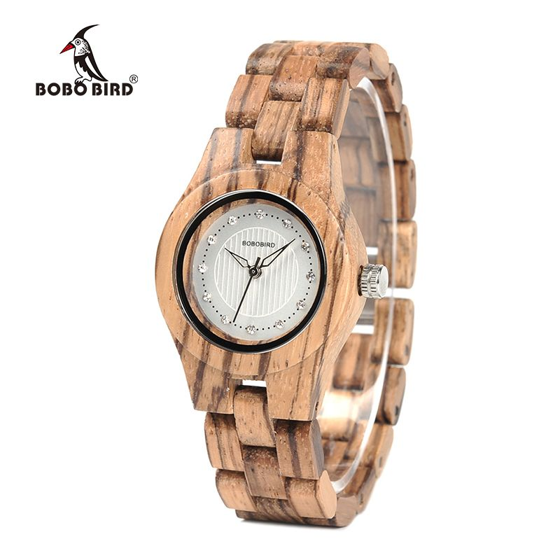 BOBO BIRD Ladies Watch Bamboo Zebra Wooden Gems Imitate Diamond Gentlewomanly Quartz Watches for Women Wood Box XFCS WO29