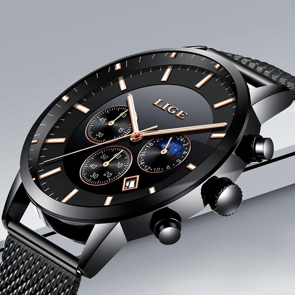 Watch Men New LIGE Mens Watches Top Brand Luxury Quartz Wristwatch Men Full Steel Grid Casual Strap Waterproof Sport Chronograph