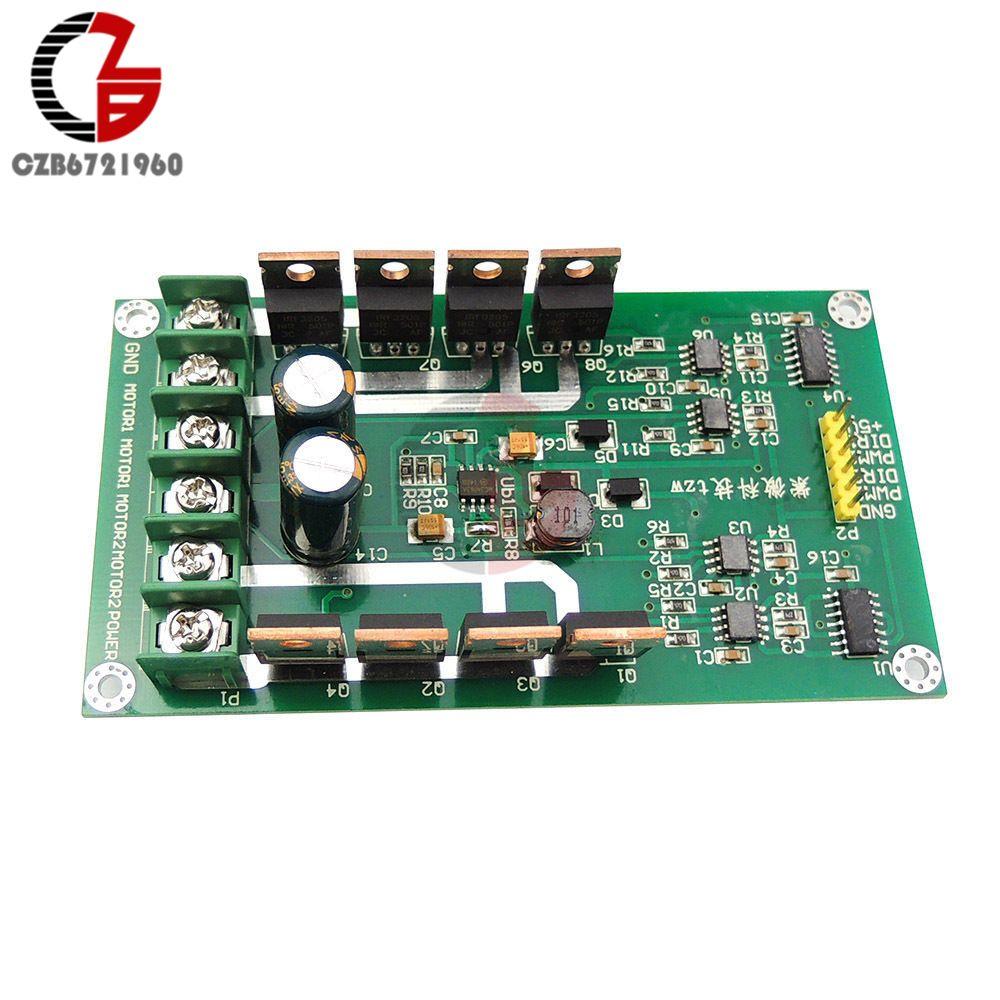 Dual DC Motor Driver Board H-Bridge DC Motor Drive Module MOSFET IRF3205 12V 24V 10A Peak 30A with Brake Function