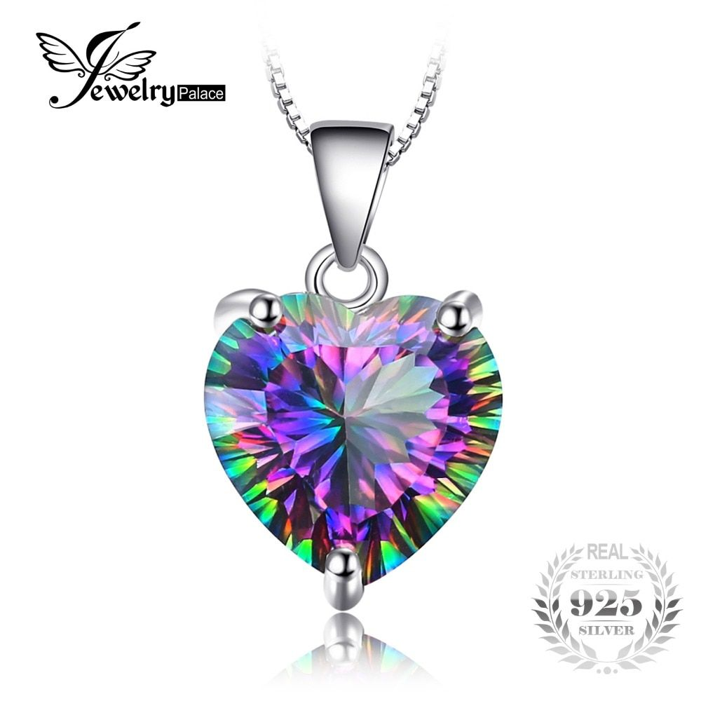 JewelryPalace 4.35ct Genuine Rainbow Fire Mystic Topaz Heart Pendant Solid 925 Sterling Silver Vintage Jewelry Without a Chain