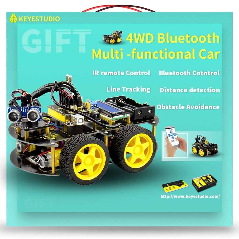 Keyestudio 4WD Bluetooth Multi-functional DIY Smart Car For <font><b>Arduino</b></font> Robot Education Programming+User Manual+PDF(online)+Video
