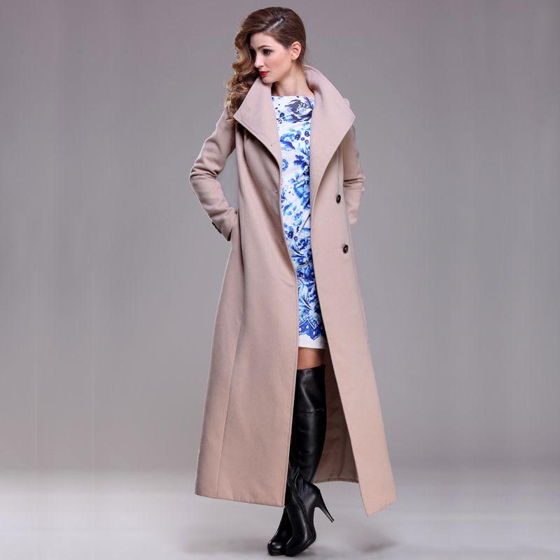 Шерстяное пальто Женская длинное пальто зимнее шерсть пальто взлетно-посадочной полосы модные толстые теплые шерстяные пальто наряд высок...