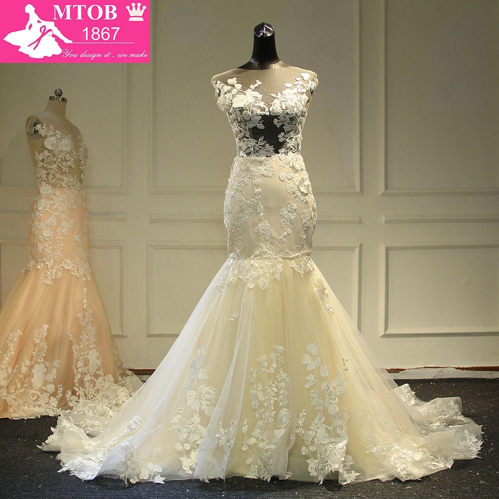 Champagne sirena Encaje vestido de novia 2017 backless opacidad vestidos de novia robe de mariage mtob1734
