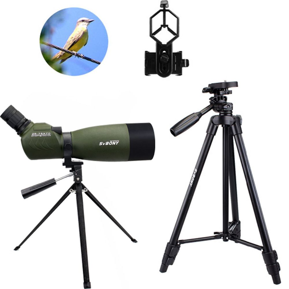 SVBONY Spotting Scope SV14 BAK4 Zoom 25-75x70mm 45De Spotting Scope Birdwatch Telescope+Phone Adapter+2 Tripod F9310