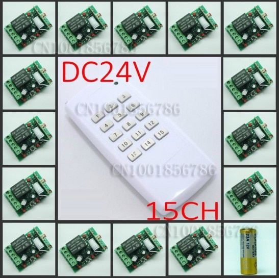 DC24V 15CH RF wireless switch remote control system Receiver&Transmitter Momentary Toggle Latched Adjust Learning 3LED Indicator