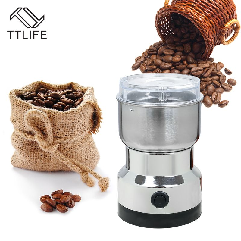 TTLIFE Electric Coffee Grinder Stainless Steel Chinese herbal 200W Household Semi-automatic Blade Extrusion <font><b>Commercial</b></font> Dry Mill