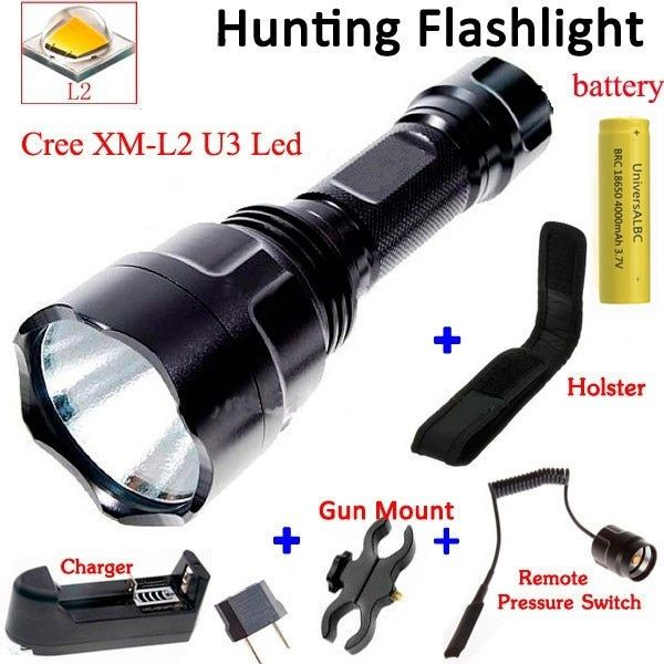 C8 2000 Lumen CREE XM-L2 LED 5 Mode Hunting Camp Flashlight for bike+ 18650 battery+Gun Mount+Charger+Holster+Remote Switch