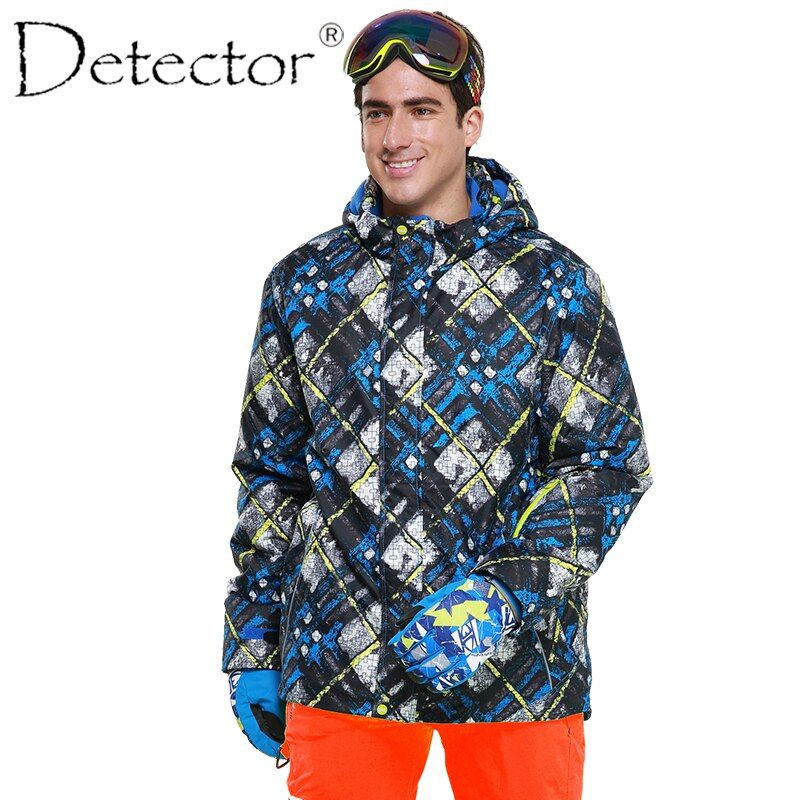 Detector Men's Ski jacket Blue Print Winter Outdoor Ski Suit Height Waterproof Breathable Ski Jacket Warm Snowboard jacket