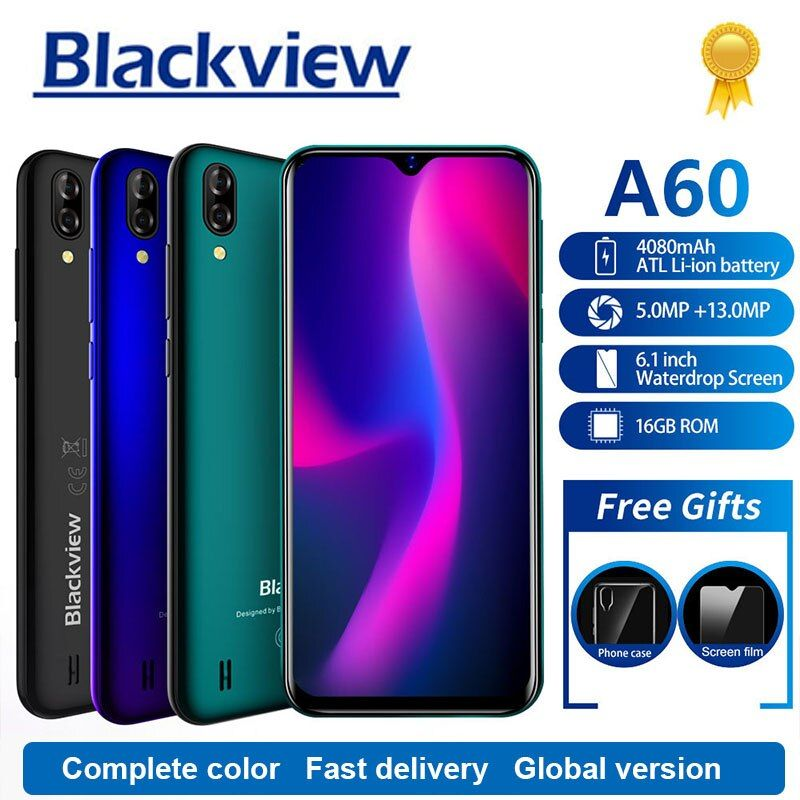 Blackview A60 Smartphone 4080mAh 1GB+16GB Quad Core Android 8.1 6.1 inch 19.2:9 Screen 13.0MP Dual Rear Camera 3G Mobile Phone