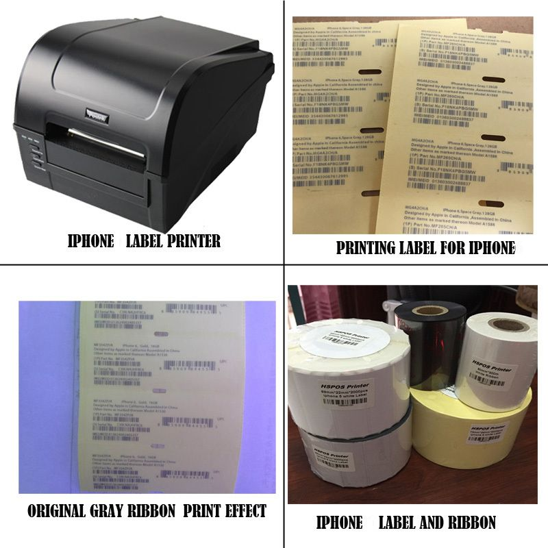 IOS Cellphone IMEI label sticker printer printing solution with professional technical support for 5 black label & white ribbon
